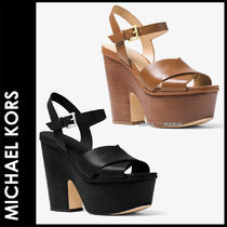 ★追跡&関税込【MICHAEL KORS】Divia Leather Platform Sandal
