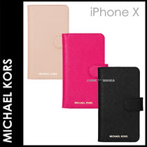 ★追跡&関税込【MICHAEL KORS】iPhoneX/Leather Folio Case