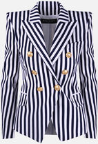 【BALMAIN】striped cotton double-breasted jacket