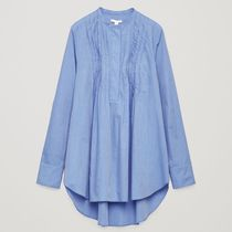 """""""COS"""" LONG PLEATED-FRONT SHIRT SKYBLUE"""