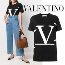 VALENTINO◆Black Deconstructed Go logo T-shirt