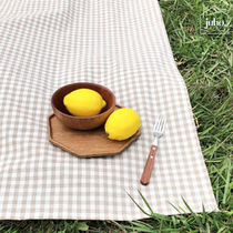 juhoDECO★BEIGE GINGHAMCHECK PICNIC MAT(携帯用ECOバッグ付)