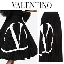 【国内発送】VALENTINO◆GO logo pleated jersey skirt 関税込