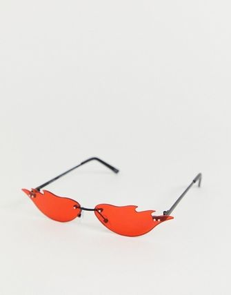 ASOS DESIGN flame fashion glasses in red lens