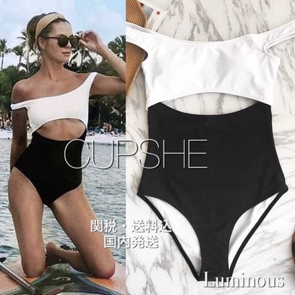 【CUPSHE】TIME FOR YOU DROPPED SHOULDER ONE-PIECE SWIMSUIT