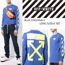 【OFFWHITE】19SS/アローロゴ/BLUE DIAGONALS LONG SLEEVE TEE