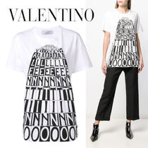 VALENTINO◆White Valentino Tower cotton Tshirt