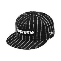☆国内即発送込☆Supreme Text Stripe New Era Black 7 1/2