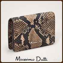 LEATHER CARD HOLDER WITH FAUX SNAKESKIN TEXTURE