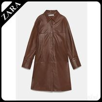 ★ZARA★ザラ  LEATHER OVERSHIRT