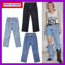 [OPEN THE DOOR]cut-off pointed denim pants(3色)UNISEX/追跡付