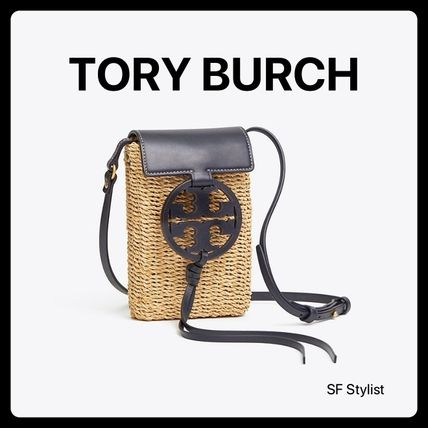 Tory BurchクロスボディーMiller Crossbody Straw iPhone カゴ黒