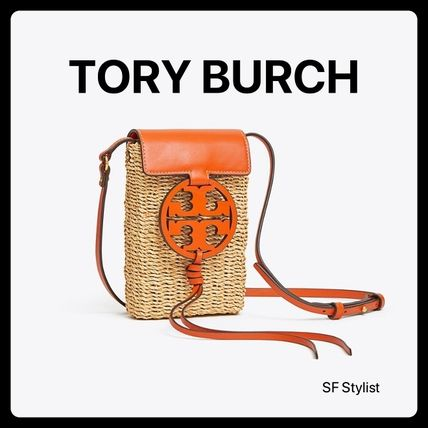 Tory Burch★Miller Crossbody Straw iPhoneスマホ オレンジ