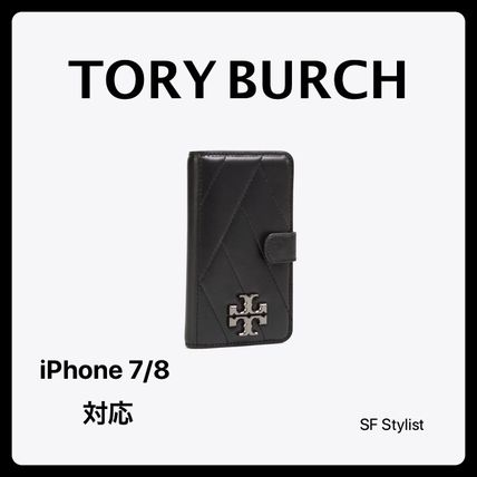 国内発送可★Tory Burch 手帳型 Chevron folio iPhone 7/8 黒