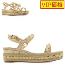 VIP価格!CHRISTIAN LOUBOUTIN gold leather sandals ♪
