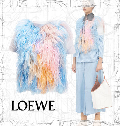 【LOEWE】SS19  Feather Knit Top White/Multicolor