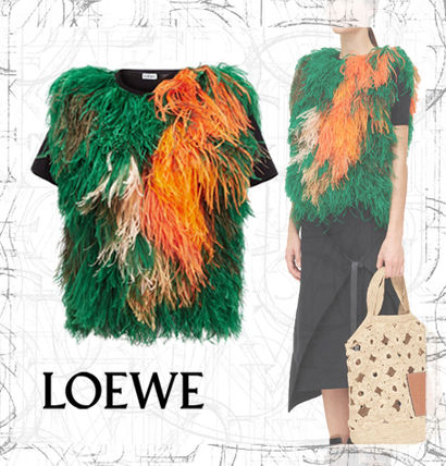 【LOEWE】SS19  Feather Knit Top Black/Multicolor
