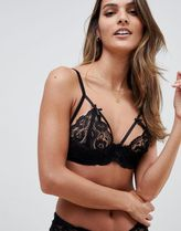 Glamorous lace cutout cup bra in black