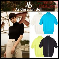 ★ANDERSSON BELL★RIBBED SHORT SLEEVE TURTLENECK SWEATER★