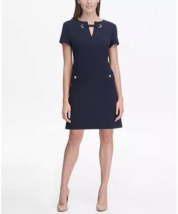 ★Tommy Hilfiger★Scuba Crepe Grommet Top Pocket Dress