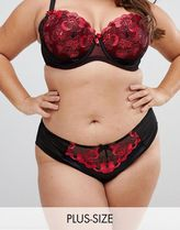 Yours Poppy floral embroidered brief in black and red