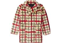 Supreme Double Breasted Plaid Faux Fur COAT  SS 19 WEEK 7