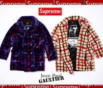 7WEEK Supreme★Jean Paul Gaultier Double Plaid Faux Fur Coat