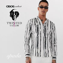 SALE【Twisted Tailor】ストライプシャツ ホワイト / 送料無料