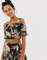 River Island beach crop top with cold shoulder in tropical