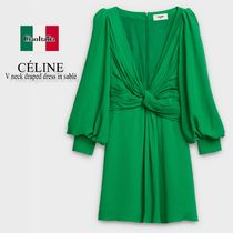 Celine V NECK DRAPED DRESS IN SABLE
