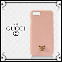 【GUCCI】猫付きiPhone 8ケース ピンク