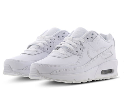 Nike キッズスニーカー 大人もOK ★限定セール【NIKE】Air Max 90 LEATHER★WHITE★(5)