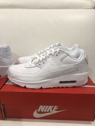 Nike キッズスニーカー 大人もOK ★限定セール【NIKE】Air Max 90 LEATHER★WHITE★(12)