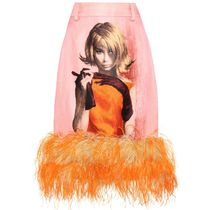 【SALE!!】Prada Feather-trimmed wool and silk skirt
