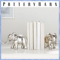 送料関税込*PotteryBarn*Antique Elephant Book Ends