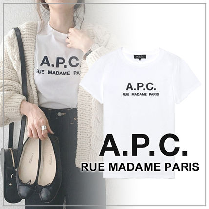 A.P.C. Tシャツ・カットソー 【日本限定】A.P.C. T-SHIRTS JIMMY RUE MADAME ロゴTシャツ