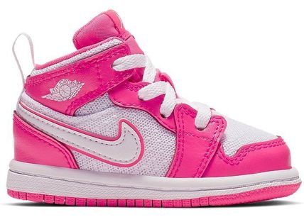 Nike ベビースニーカー SS19 NIKE AIR JORDAN RETRO 1 MID HYPER PINK WHITE TD TODDLER