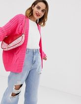 River Island cable knit cardigan in pink