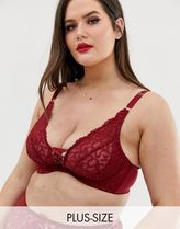 City Chic Anika lace up plunge bra in red