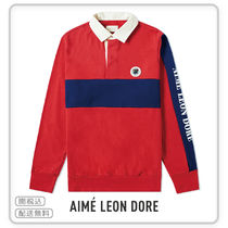 【AIME LEON DORE】SLEEVE LOGO STRIPED RUGBY SHIRT RED