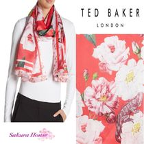 【SALE】TED BAKER*Mid Redフローラルシルクスカーフ