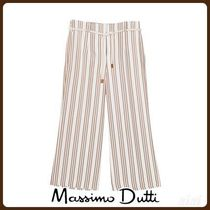 MassimoDutti♪CROPPED STRIPED TROUSERS WITH BELT