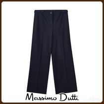 MassimoDutti♪CROPPED NAVY BLUE TROUSERS WITH BUTTONED TABS