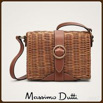 MassimoDutti♪LEATHER AND RATTAN CROSSBODY BAG WITH BUCKLE