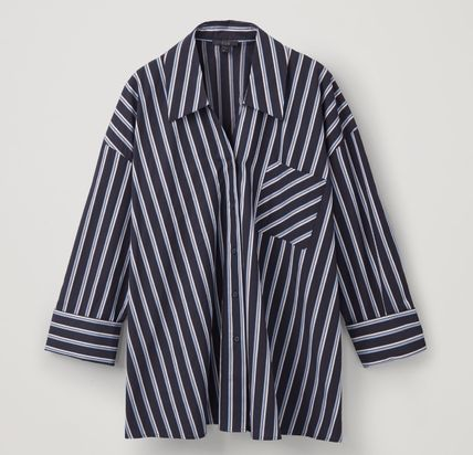 "COS ブラウス・シャツ ""COS"" STRIPED OPEN-COLLAR SHIRT NAVY(2)"