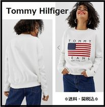 Tommy Hilfiger★Tommy Jeans/flagロゴスウェット/白★送関込