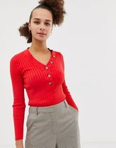 New Look button through rib top in bright red