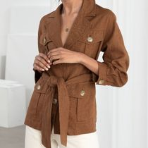 """& Other Stories""Belted Linen Workwear Jacket Camel"
