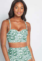 Soleil It on Me Bustier Swimsuit Top in Palms