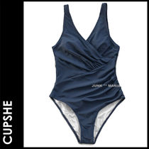 ★追跡&関税込【CUPSHE】RUCHED NAVY SOLID ONE-PIECE SWIMSUIT